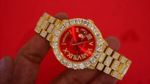 Rolex Gold President DayDate Watch Full Iced With Red Roman Numeral Diamond Face