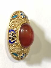 Exquisite Chinese Silver and Carnelian Pin Brooch Filigree