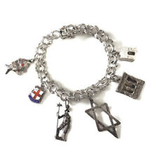 Vintage Sterling Silver 6 Charm Travel Bracelet Parthenon Articulated Fish