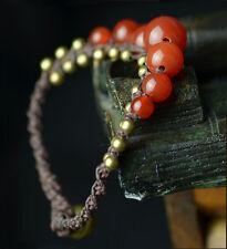 Red Agate Beads Braided Buddhist Prayer Mala Bracelet Band