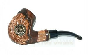 """New HAND CARVED Handmade Smoking Pipe/Pipes """" Metal Spider """" Wooden Smoking Pipe"""