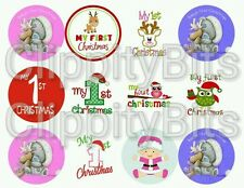 """50 x 1"""" Inch Pre Cut Bottle Cap Images Baby's 1st Christmas Xmas Pictures bows"""