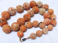 VINTAGE NATURAL CORAL LARGE BEAD NECKLACE, sterling claps TOTAL 104 GRAMS