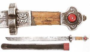 Antique Tibetan Ke Tri Sword Silver Mounts Bhutanese Bhutan Nepal Knife Dagger