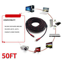2pcs PREMIUM HDMI CABLE 50FT For BLURAY 3D DVD PS3 HDTV XBOX HD 1080P Red&BLack