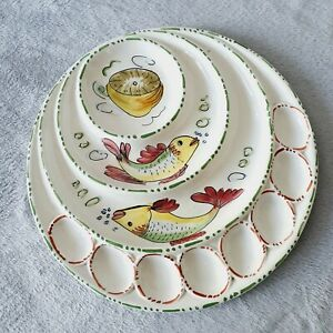 """HANDPAINTED shellfish seafood oyster platter plate round sections dining 13"""""""