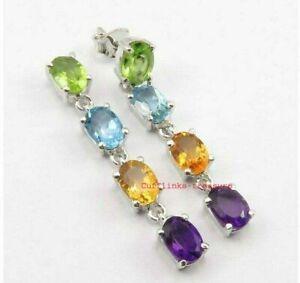 Natural Amethyst Citrine Blue topaz & peridot Gemstones 925 Silver Earrings
