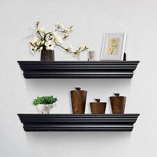 Homcom Floating Wall Shelves Set Mounted Ledge Shelving Storage Shelf Display