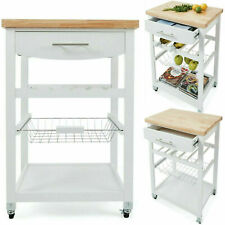 Wooden Kitchen Food Utility Trolley Cart Drawer 2 Shelves Cabinet Rack White _FF