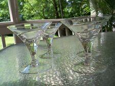 (4) Vintage Mid Century Modern Spiral Fluted Etched Martini Bar Glass Set