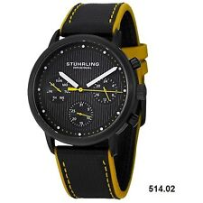 NEW Stuhrling Original 514.02 mens Concorso Obscure Multifunction Yellow watch