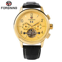 FORSINING Men's Self-Wind Mechanical Wrist Watch Tourbillon Date Day Leather