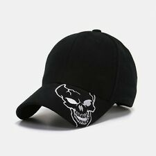 Black Skull Skateboard Biker Halloween Costume Ball Gothic Goth Baseball Hat Cap