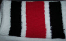 "1 Pair White tube socks with Black and Red Stripes-Approx. 25-26""-Made in USA"