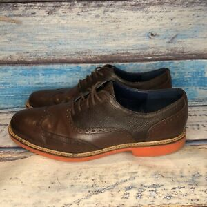 Cole Haan Mens Size 11 M Great Jones Wing Tip Shoes Brown Leather Orange C11235