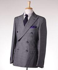 NWT $1975 BELVEST Black-Gray Patterned DB Wool Suit Slim-Fit 40 R (Eu 50)