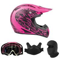 Adult Snocross Combo Pink Snowmobile Helmet BreathBox Pink Goggles Balaclava DOT
