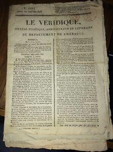 JOURNAL RÉGIONALISTE DE L'HÉRAULT LE VÉRIDIQUE.3 NUMÉROS.1818.