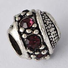5pcs Silver European Charms rhinestone Beads lot free shipping For Bracelet