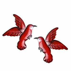 SALE! 2-Pack Red Metal Birds Wall Art Sculptures Outdoor Garden Fence Patio