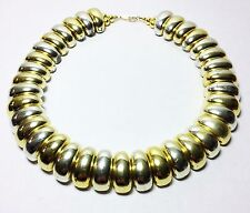 Vintage 80s Gold Acrylic Bead Choker Necklace Fashion Jewelry