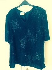 STUNNING FRANK USHER HEAVILY BEADED TUNIC/TOP ~ BLACK ~ SIZE XL Prob 16-18