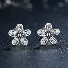 Dazzling Flower 925 Sterling Silver Stud Earrings w/Clear CZ Accents 1 Pair