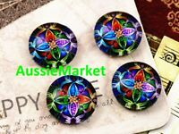 20 x cabochons glass dome colourful mosaic pattern flat back round 12mm crafts