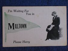 I'm Waiting for You in Milltown WI/Coy Woman Holds Hat in Hand/Pennant Postcard