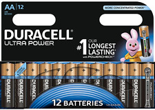 12 x Duracell AA Ultra Power Alkaline Batteries - LR6, MX1500, MN1500, MIGNON