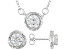 Bella Luce (R) 4.30ctw Rhodium Plated Sterling Silver Earrings & Neacklace Set