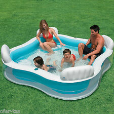 PISCINA FAMILIAR PLASTICO HINCHABLE INTEX CON CUATRO ASIENTOS 229X229X66 cm