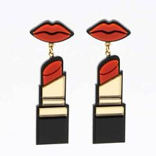 Women Red Lip Cute Gold Lipstick Punk Hip-hop Stud Big Oversized Earrings