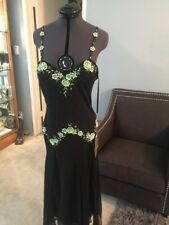 Aspeed 100% Silk Black Lime Green Beaded Formal Gown Long Dress S AS046