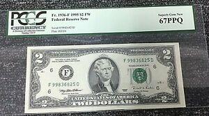 1995 $2 ATLANTA FRN (FD BLOCK) 1936-F PCGS 67PPQ SUPERB GEM + ERROR,  .99c START