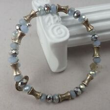 Alex & Ani Vintage Blue & Clear Crystal Energy Coil Bracelet