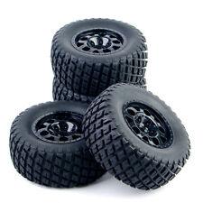 4Pcs 12mm Hex Short Course Ruber Tire Wheel Rims Set For RC TRAXXAS Slash 1:10