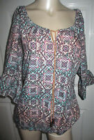 Maurices Top Peasant Boho Floral & Paisley Print 3/4 Sleeves Women's Large