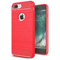 coque housse étui iPhone 8 en silicone rouge effet métal brossé et carbone