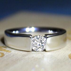 GIA Certified Diamond VVS1 D color Men's White Gold Fine Ring Wedding Band