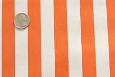 ORANGE WHITE STRIPE CABANA SUMMER PICNIC DINE OILCLOTH VINYL TABLECLOTH 48x48
