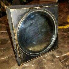 Small Old Antique Mirror Wooden Frame Hanging Table Vanity Black Square Pin Nail