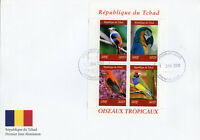 Chad 2019 FDC Tropical Birds 4v M/S Cover I Oiseaux Macaws Parrots Bird Stamps