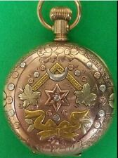 Solid Gold Multi-Color Diamond Runs #69-12 Antique 0S Waltham Pocket Watch 10K