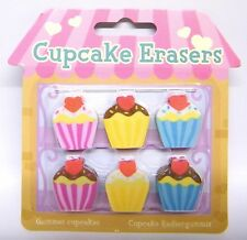 Novelty Erasers Cupcake 6pc Set Stationery Rubbers Party Bag Stocking Filler