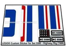 Precut Custom Replacement Stickers voor Lego Set 5580 - Highway Rig (1986)