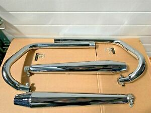 Triumph Thruxton 900 Full Exhaust System Downpipes & Reverse Cone Silencers