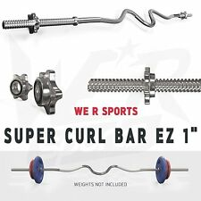We R Sports Super Curl Bar Weight Lifting & Spinlock Collars Gym Fitness EZ 1""
