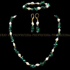 Green Malachite Irregular Gravel White Pearl Necklace Bracelet Earrings Set