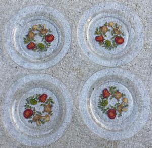 "Set of 4 1970 Arcoroc France Glass Dish Vegetable Garden Peppers Mushrooms 7.5"""
